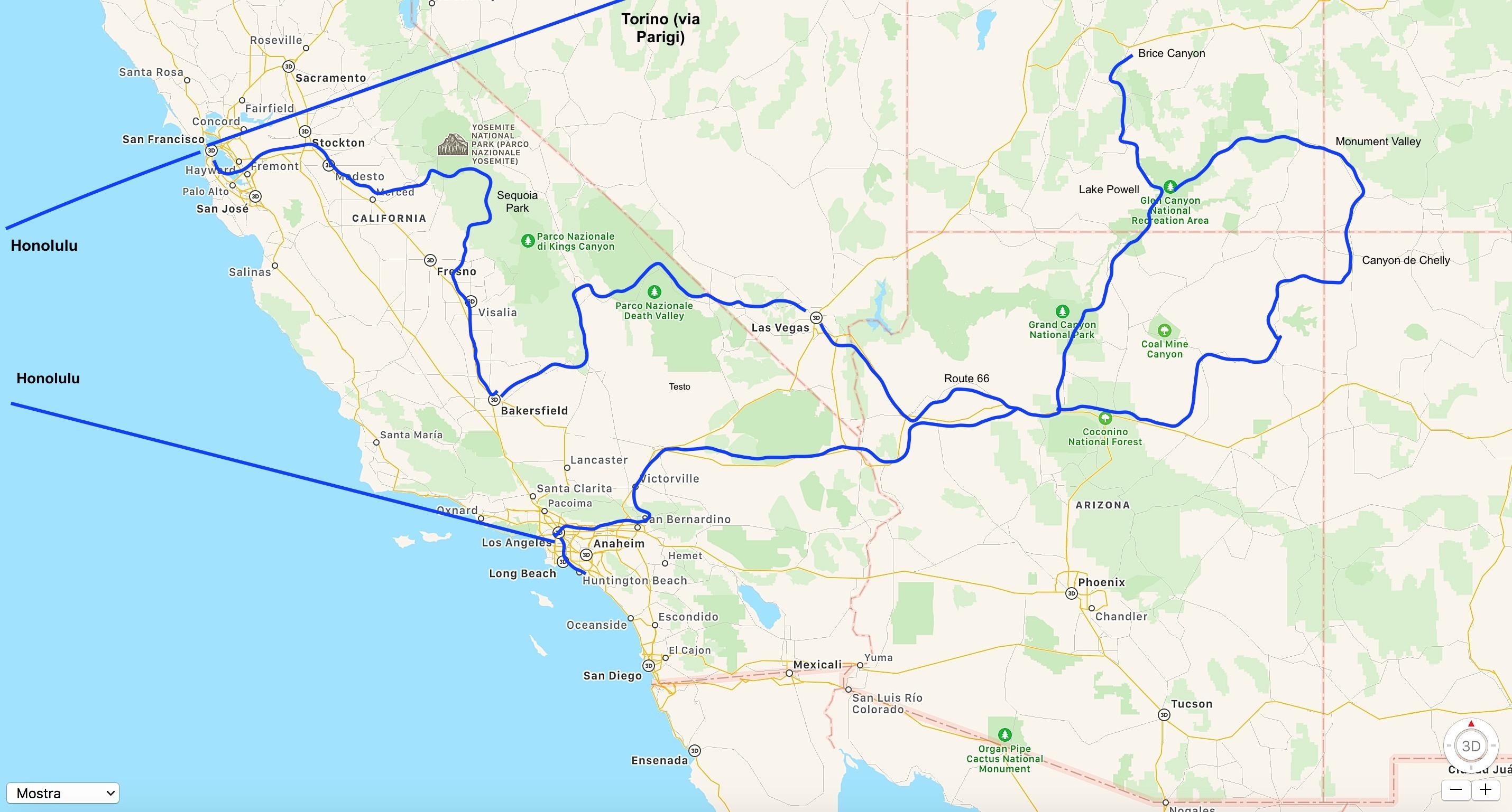 mappa viaggio in USA